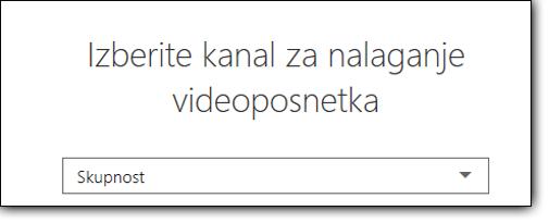 Storitve Office 365 Video izberite kanal za prenos videa