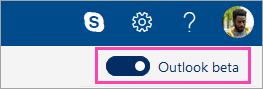 Posnetek zaslona stikalo Outlook beta