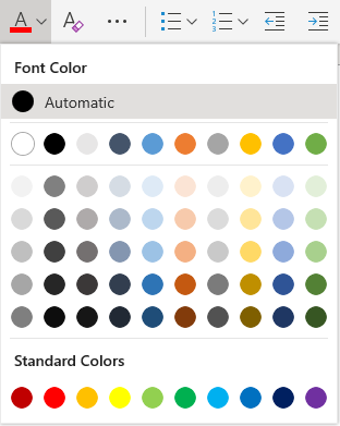 Meni za izbor barve pisave v programu Word online