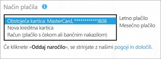 Posnetek zaslona, na katerem je prikazan razdelek »Način plačila« na strani »Kako želite plačati?«, z razširjenim spustnim seznamom za možnosti plačila.
