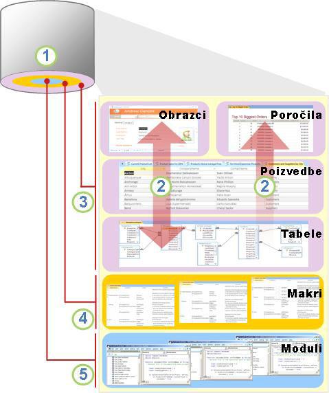 Pregled Accesovih komponent in uporabnikov