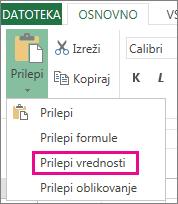 Ukaz za lepljenje z možnostjo »Prilepi vrednosti« v programu Excel Web App