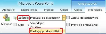 Možnost »Predvajaj po diapozitivih« za zvočno datoteko v programu PowerPoint 2010