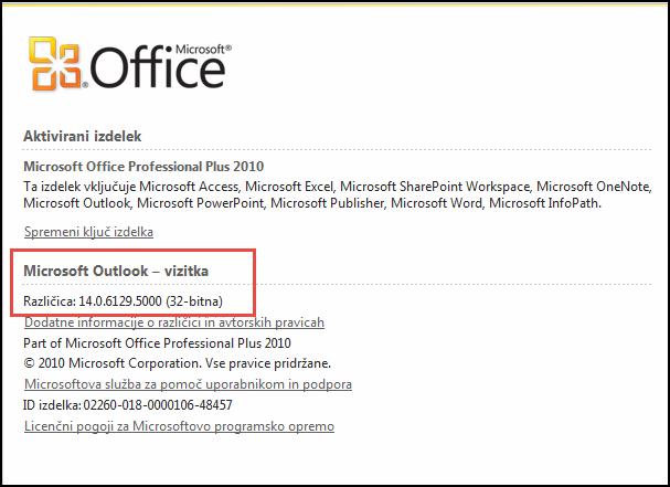 Posnetek zaslona strani, kjer lahko v razdelku »Microsoft Outlook – vizitka« preverite, katero različico aplikacije Outlook 2010 uporabljate