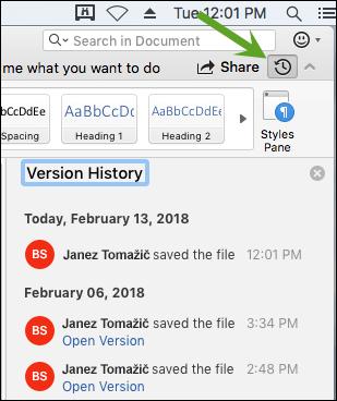 Z gumbom za zgodovino različic odprete podokno z zgodovino različic, kjer lahko izberete starejše različice dokumenta