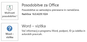 Če ste namestili Office s tehnologijo zagona s klikom, so informacije o aplikaciji in posodobitvah videti tako.
