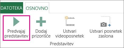 Gumb »Predvajaj predstavitev« v oknu dodatka Power Map