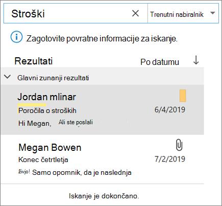 Uporaba iskanja za iskanje e-pošte v Outlooku