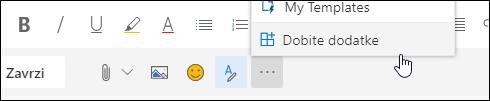 Posnetek zaslona gumba» pridobi dodatke «