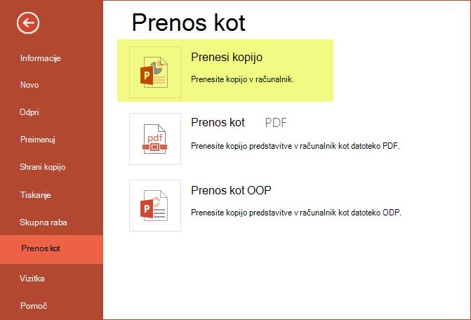 Uporaba Prenesi kopijo za shranjevanje predstavitve v računalnik