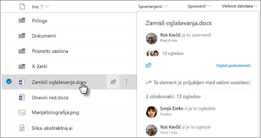 Posnetek zaslona kartice s kazalcem datoteke, ki se prikaže, ko pokažete na datoteko v storitvi OneDrive ali SharePoint