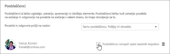 Posnetek zaslona potrditvenega polja »Pooblaščencu omogoči ogled zasebnih dogodkov«.