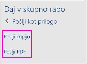 Slika dveh možnosti v podoknu za skupno rabo za pošiljanje dokumenta prek e-pošte v obliki kopije ali datoteke PDF
