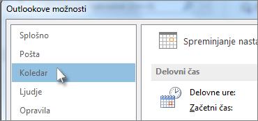 V razdelku »Outlookove možnosti« kliknite »Koledar«.