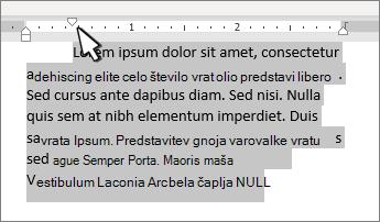 Oznaka zamika prve vrstice