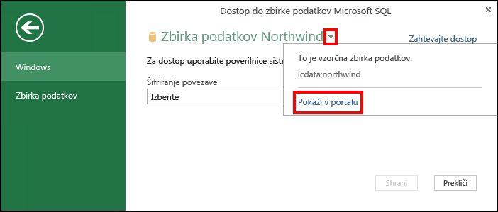 Ogled informacij vira podatkov v portalu