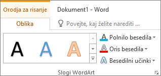 Skupina »Slogi WordArt«