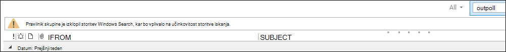 Opozorilo za Outlookovo iskanje