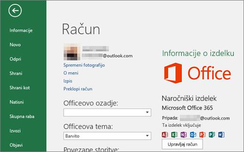 Microsoftov račun, povezan z Officeom, je prikazan v oknu »Račun« v Officeovi aplikaciji