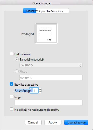 Prikaže pogovorno okno glave in noge v programu PowerPoint 2016 za Mac
