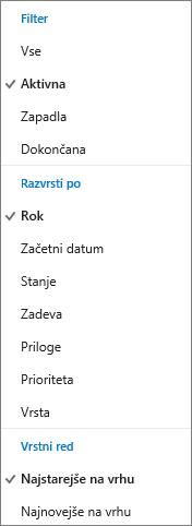 Izberite način za filtriranje, razvrščanje in razporejanje opravil na seznamu opravil na spletnem mestu Outlook.com