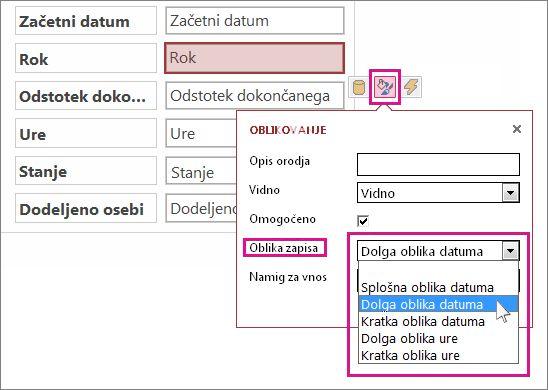 Slika menija »Oblikovanje« v spletnem Accessu.