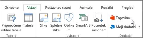 Posnetek zaslona odseka na zavihku »Vstavljanje« na Excelovem traku s kazalcem, ki kaže, da v trgovini. Izberite shranjevanje, da se v trgovini Office in poiščite dodatkov za Excel.