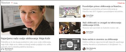 Spletni gradnik naslova novice na spletnem mestu skupine