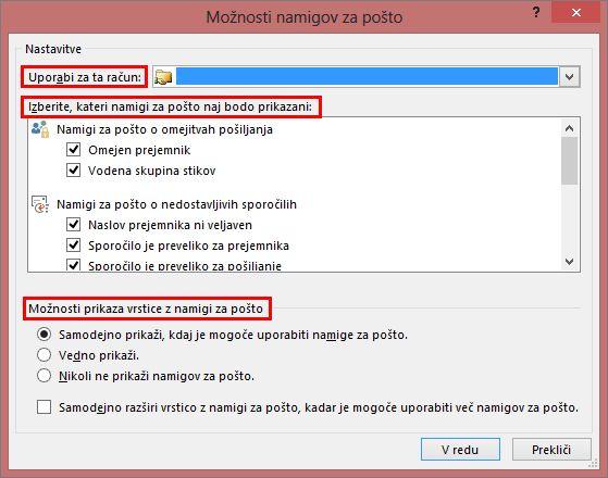 Možnosti namiga za pošto v Outlooku