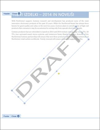 Slika dokumenta z vodnim žigom »Osnutek«.