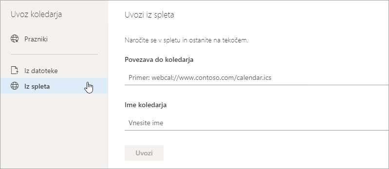 Posnetek zaslona uvoz iz spletne možnosti