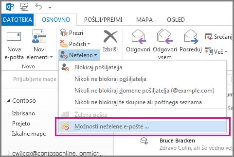 Meni »Neželeno« v programu Outlook 2013
