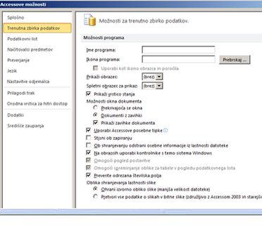 Pogovorno okno »Accessove možnosti« s poudarkom na trenutnih možnosti zbirke podatkov