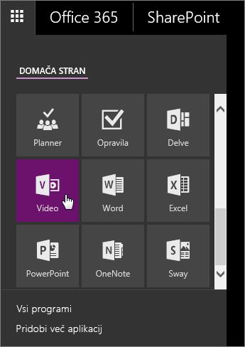 Posnetek zaslona podokna z aplikacijami z aktivno ploščico »Video«.