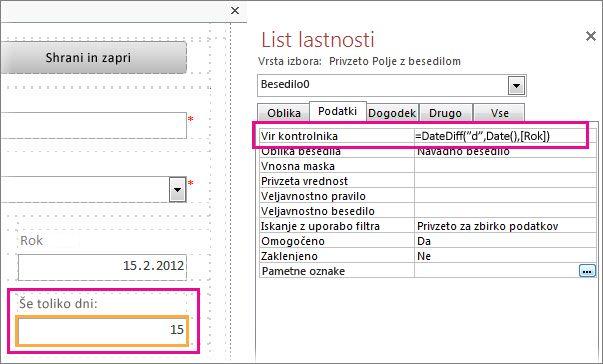 Vnos funkcije »DateDiff« v lastnost vira kontrolnikov polja z besedilom.