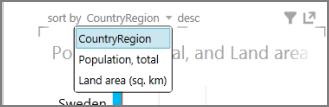 Ikona »Razvrsti« v funkciji Power View in spustni seznam
