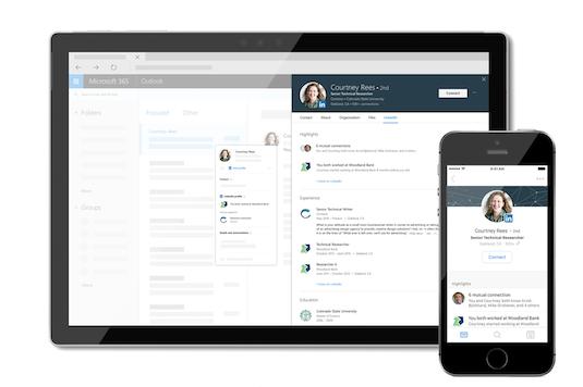 Informacije o storitvi LinkedIn na kartici profila