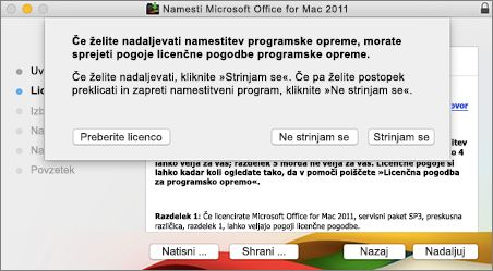 Posnetek zaslona okna za sprejem licenčne pogodbe za programsko opremo
