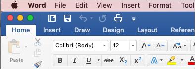 Trak v programu Word for Mac v barvita tema