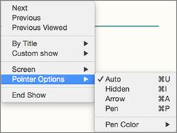 Control-klik za prikaz seznama ukazov med snemanjem