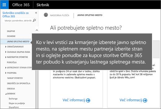 V storitvi Office 365 izberite javno spletno mesto.