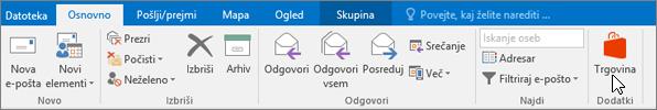 Posnetek zaslona, na katerem je prikazan zavihek »Osnovno« v Outlooku s kazalcem, ki kaže na ikono »Trgovina« v skupini »Dodatki«.