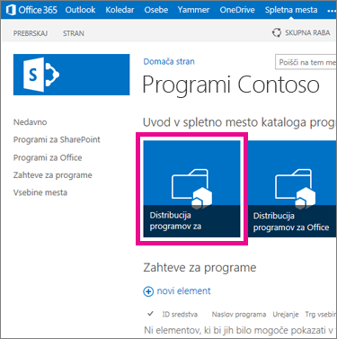 Ploščica »Porazdeli programe za SharePoint« na mestu kataloga programov