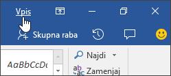 Posnetek zaslona, ki prikazuje povezavo za vpis v Officeovo namizno aplikacijo
