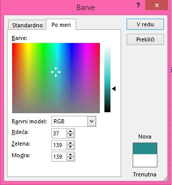 Možnost zlivanja barv po meri