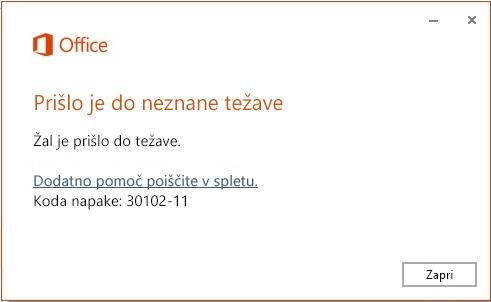 Koda napake 30102-11 pri namestitvi Officea