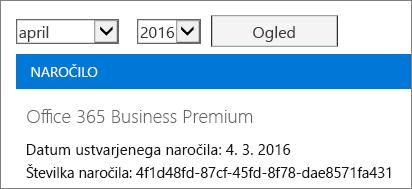 Posnetek zaslona strani »Računi« v skrbniškem središču za Office 365.