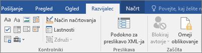 Na zavihku razvijalec v skupini Kontrolniki kliknite lastnosti