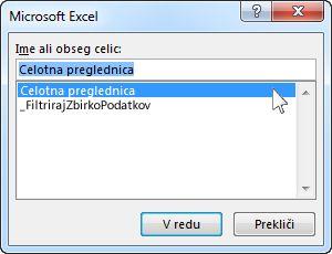 Pogovorno okno »Microsoft Excel« v Wordu