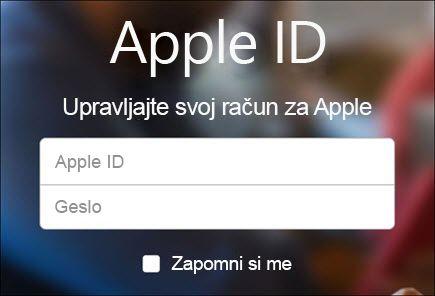 Prijavite se s svojim uporabniškim imenom in geslom za iCloud.